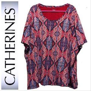 🆕Tee-Short Sleeve, Red/White/Blue Aztec Print